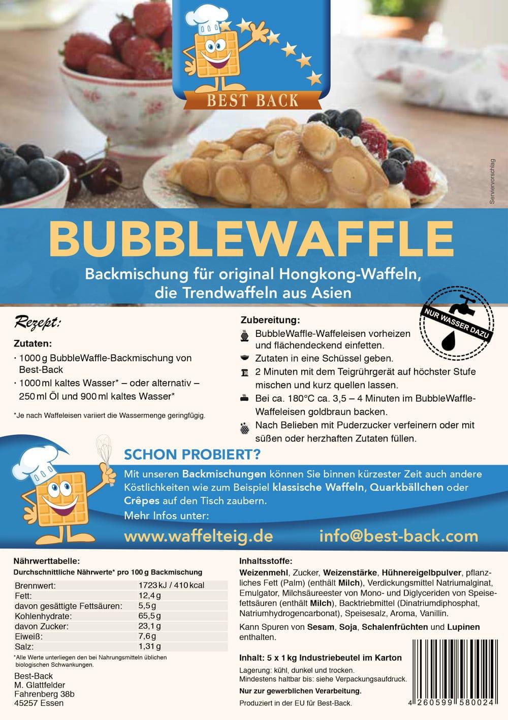 Label Bubblewaffle - Best-Back Vertrieb - einfach, schnell & vielfältig