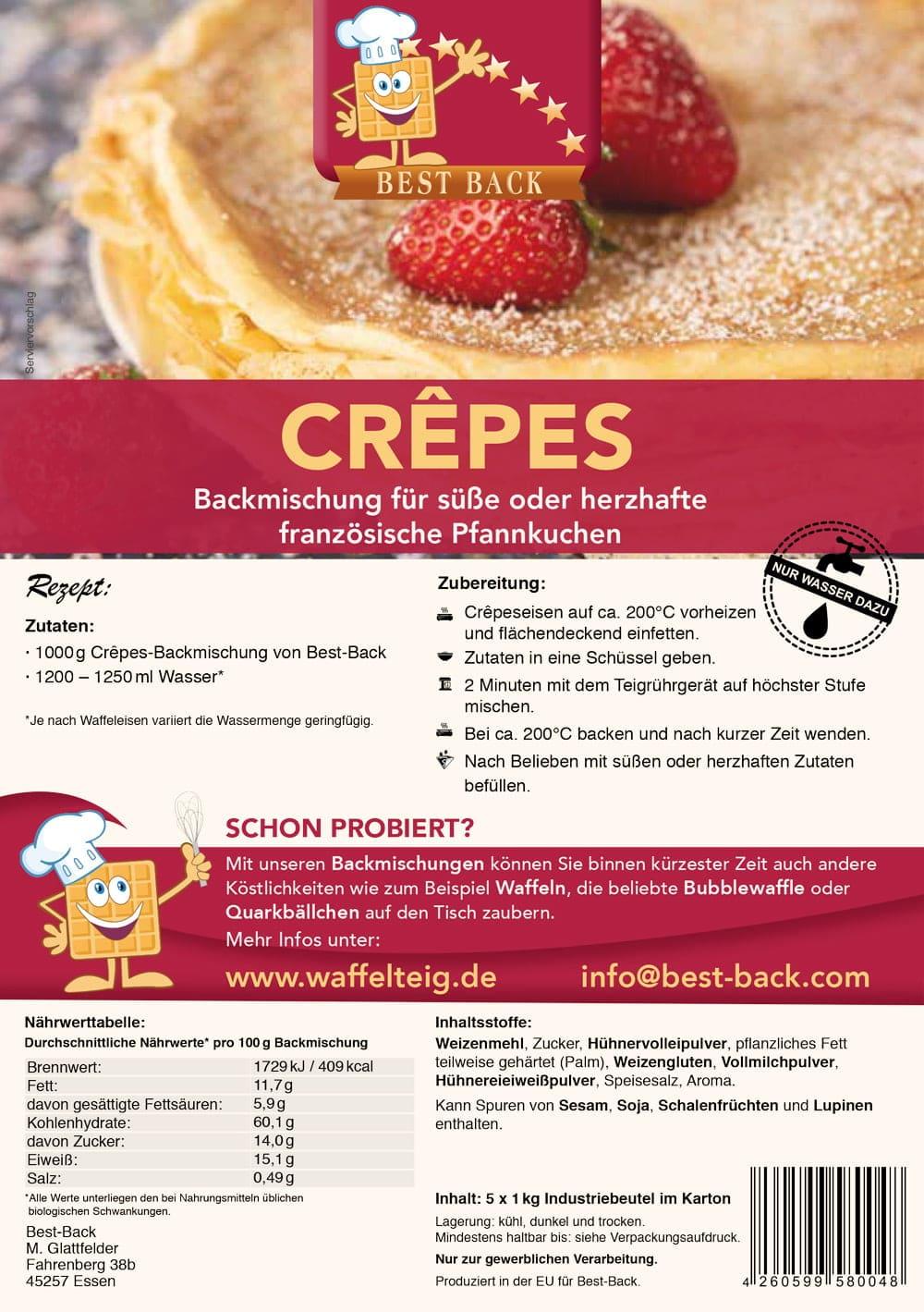 Label Crêpes - Best-Back Vertrieb - einfach, schnell & vielfältig