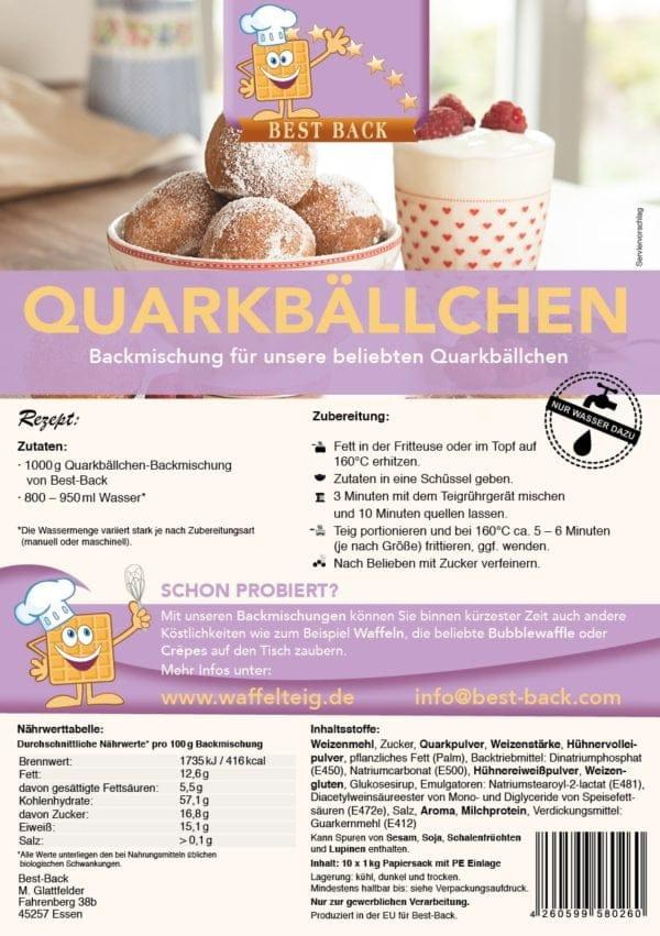 Label Quarkbällchen - Best-Back Vertrieb - einfach, schnell & vielfältig