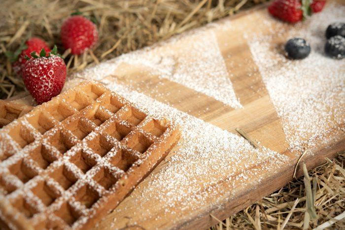 Vegane Waffeln mit Puderzucker, Puderzucker zeigt ein V neben Erdbeeren und Blaubeeren - Best-Back Vertrieb - einfach, schnell & vielfältig