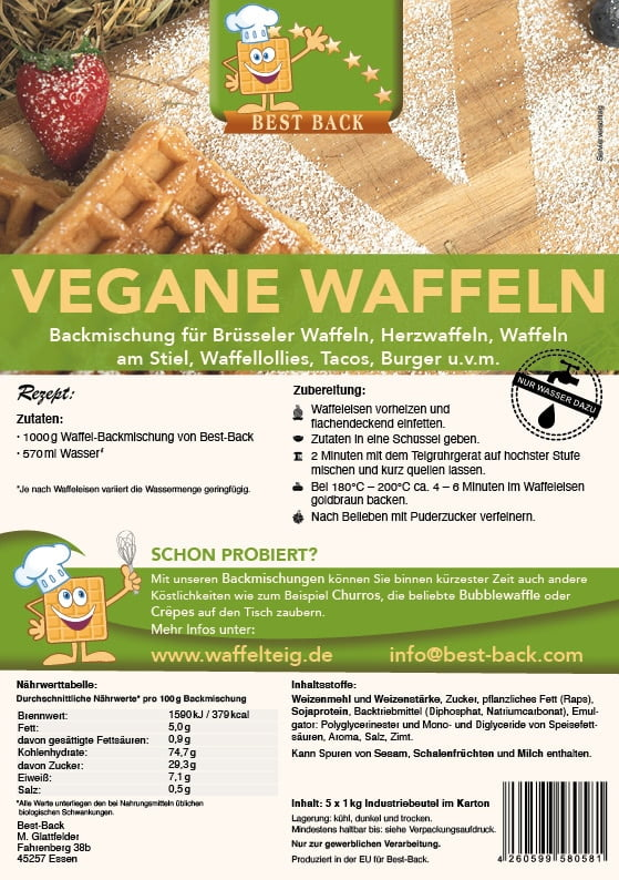 Label vegane Waffeln - Best-Back Vertrieb - einfach, schnell & vielfältig